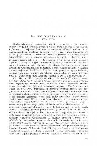 Ranko Marinković (1913.-2001.) / Nikola Batušić