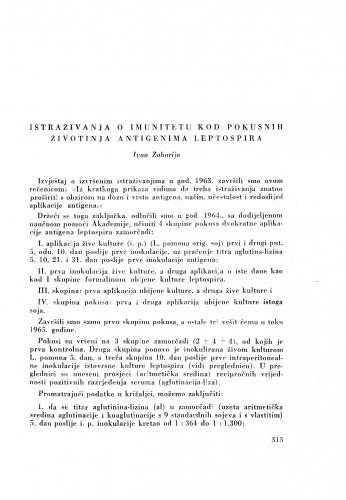Istraživanja o imunitetu kod pokusnih životinja antigenima leptospira / I. Zaharija
