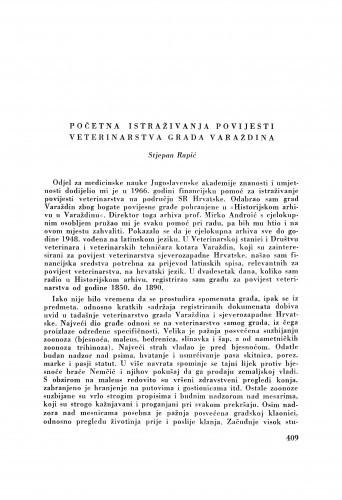 Početna istraživanja povijesti veterinarstva grada Varaždina / S. Rapić