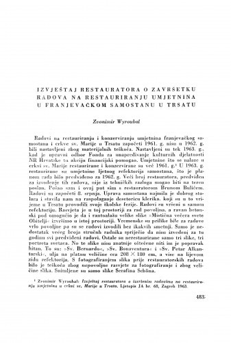 Izvještaj restauratora o završetku radova na restauriranju umjetnina u Franjevačkom samostanu u Trsatu / Z. Wyroubal