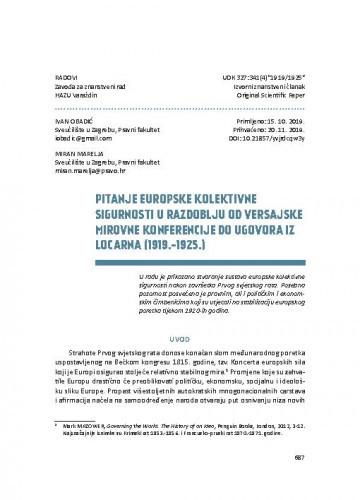 Pitanje europske kolektivne sigurnosti u razdoblju od versajske mirovne konferencije do ugovora iz Locarna (1919.-1925.) / Ivan Obadić, Miran Marelja