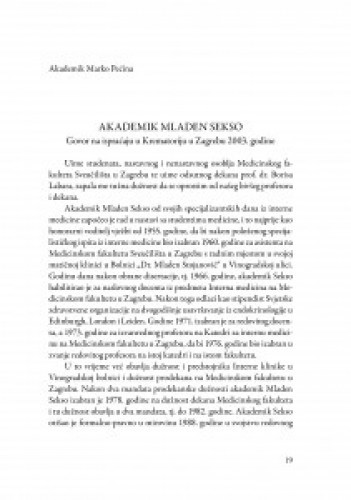 Akademik Mladen Sekso : govor na ispraćaju u Krematoriju u Zagrebu 2003. godine / Marko Pećina