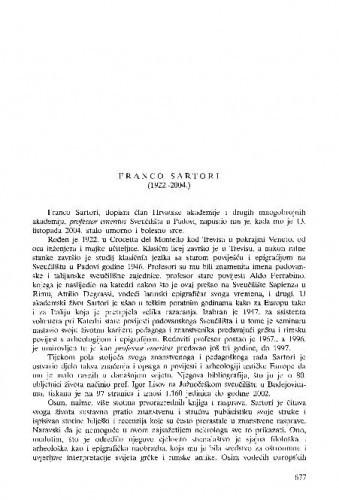 Franco Sartori (1922.-2004.) : [nekrolog] / Marin Zaninović