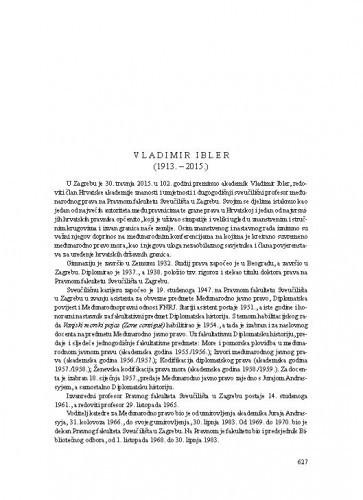 Vladimir Ibler (1913.-2015.) : [nekrolog] / Vesna Skorupan Wolff