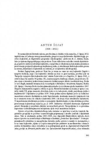Antun Šojat (1928.-2012.) : [nekrolog] / August Kovačec