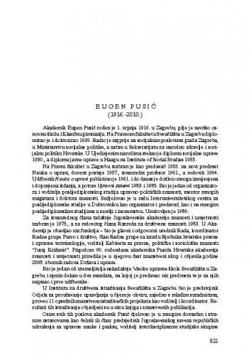 Eugen Pusić (1916.-2010.) : [nekrolog] / Zvonko Posavec