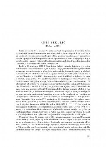 Ante Sekulić (1920.-2016.) : [nekrolog] / August Kovačec