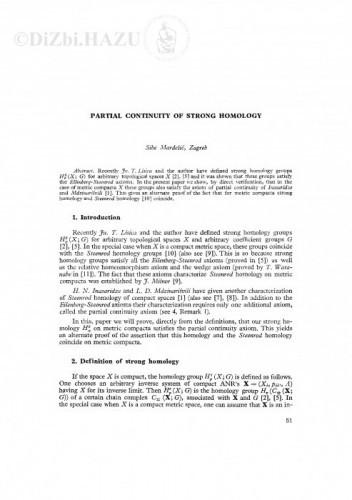 Partial continuity of strong homology / S. Mardešić