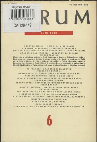 God. 19(1980), knj. 39, br. 6 / glavni i odgovorni urednik Marijan Matković
