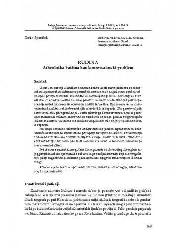 Rudina : arheološka baština kao konzervatorski problem / Žarko Španiček