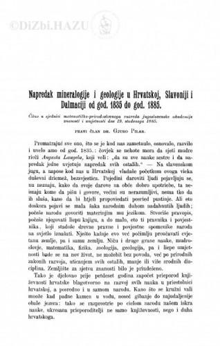 Napredak mineralogije i geologije u Hrvatskoj, Slavoniji i Dalmaciji od god. 1835 do god. 1885. / Đ. Pilar