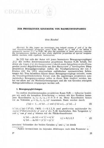 Zur projektiven Kinematik von Raumkurvenpaaren / Otto Röschel