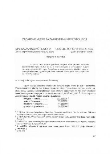 Zadarske mjere za zapreminu kroz stoljeća / Marija Zaninović-Rumora