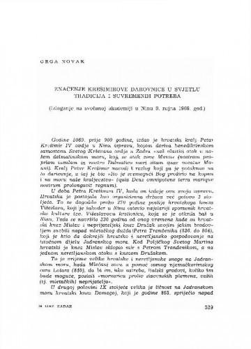 Značenje Krešimorve darovnice u svjetlu tradicija i suvremenih potreba : (izlaganje na svečanoj akadmeiji u Ninu 9. rujna 1969. g.) / Grga Novak