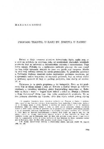 Profani tekstil u raki sv. Šimuna u Zadru / Marijana Gušić