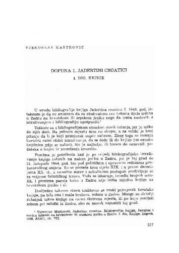 Dopuna 1. Jadertini croatici. I. dio Knjige / Vjekoslav Maštrović
