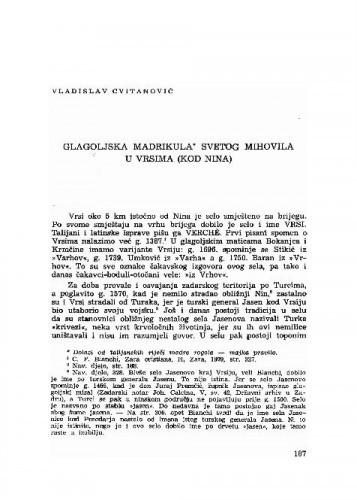 Glagoljska madrikula svetog Mihovila u Vrsima (kod Nina) / Vladislav Cvitanović