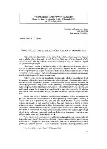 Novi podaci o M. A. Reljkoviću i njegovim potomcima / Antun Djamić