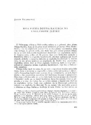 Dva pisma Džona Rastića na engleskom jeziku / Josip Vlahović