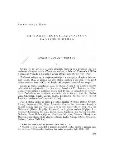 Kretanje broja stanovništva zadarskih otoka : otoci Pašman i Ugljan / Filipi Amos-Rube
