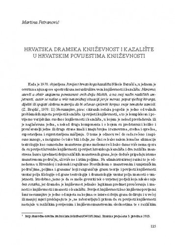 Hrvatska dramska književnost i kazalište u hrvatskim povijestima književnosti / Martina Petranović