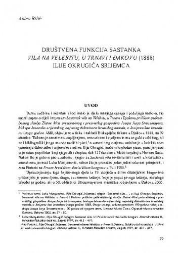 Društvena funkcija Sastanka vila na Velebitu, u Trnovi i Đakovu (1888) Ilije Okrugića Srijemca / Anica Bilić