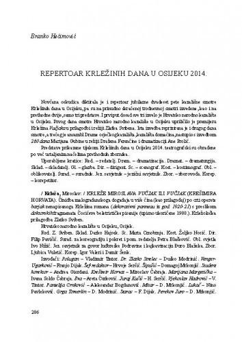 Repertoar Krležinih dana u Osijeku 2014 : [prilog] / Branko Hećimović
