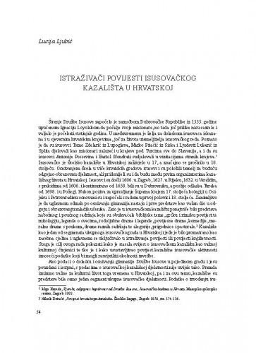 Istraživači povijesti isusovačkog kazališta u Hrvatskoj / Lucija Ljubić