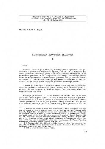 "Lanosovićeva ""Slavonska"" gramatika / B. Tafra"
