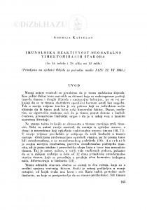 Imunološka reaktivnost neonatalno timektomiranih štakora / A. Kaštelan