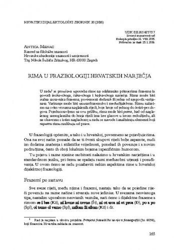 Rima u frazeologiji hrvatskih narječja / Antica Menac