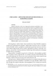 CRO-aCRO - Hrvatski registar bolesnika s akromegalijom / Mirsala Solak
