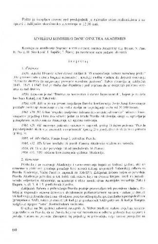 Izvještaj Komisije o danu osnutka Akademije