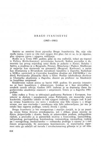 Drago Ivanišević (1907-1981) : [komemoracija i nekrolozi] / Š. Vučetić