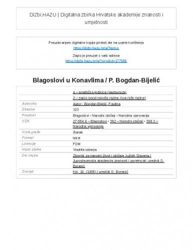 Blagoslovi u Konavlima / P. Bogdan-Bijelić