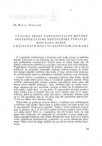 Analiza jedne tangencijalne metode postoperativne rentgenske terapije kod raka dojke s mjerenjem doza na kritičnim točkama / M. Špoljar