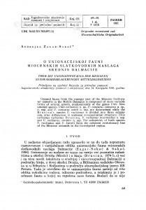 O unionacejskoj fauni miocenskih slatkovodnih naslaga srednje Dalmacije / A. Žagar-Sakač