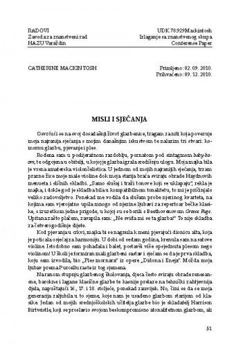 Misli i sjećanja / Catherine Mackintosh ; prijevod Dada Ruža