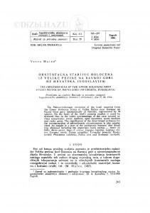 Ornitofauna starijeg holocena iz Velike pećine na Ravnoj gori (SZ Hrvatska, Jugoslavija) / Vesna Malez