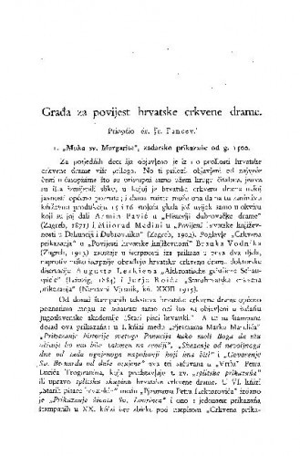 Muka sv. Margarite, zadarsko prikazańe od g. 1500. : građa za povijest hrvatske crkvene drame / Franjo Fancev