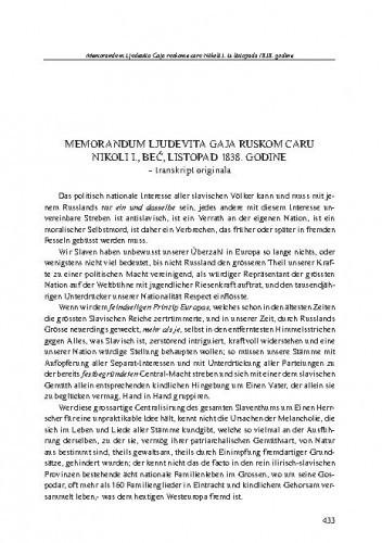 Memorandum Ljudevita Gaja ruskom caru Nikoli I., Beč, listopad 1838. godine : transkript originala, [hrvatski prijevod] / Ljudevit Gaj Ivanovič