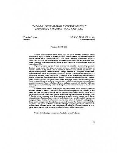 Catalogus episcoporum ecclesiae Nonensis zadarskog kanonika Ivana A. Gurata / Zvjezdan Strika