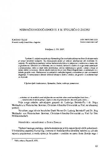 Njemački hodočasnici 15. i 16. stoljeća o Zadru / Krešimir Kužić