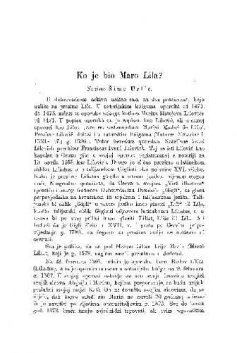 Ko je bio Maro Lila? / Šime Urlić