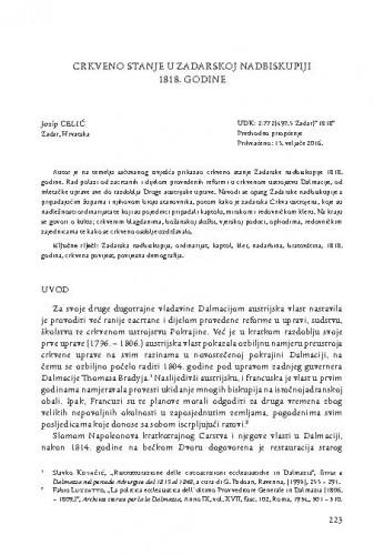 Crkveno stanje u Zadarskoj nadbiskupiji  1818. godine / Josip Celić