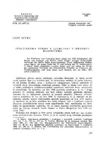 Italijanska opera v Ljubljani v obdobju klasicizma / Jože Sivec