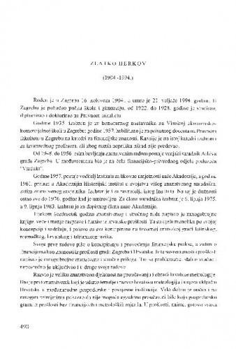 Zlatko Herkov : (1904.-1994.) / Ivan Erceg