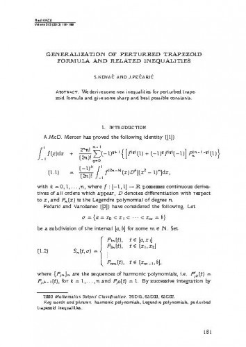 Generalization of perturbed trapezoid formula and related inequalities
