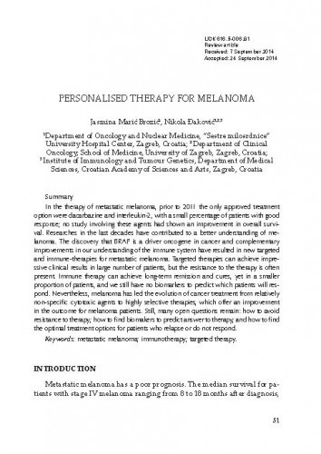 Personalised therapy for melanoma