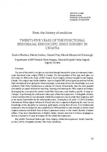 Twenty-five years of the functional endonasal endoscopic sinus surgery in Croatia
